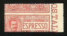 """Espresso 25 c. dent. fort. spostata in senso verticale """"Cen 25"""" in alto (1d). Bello."""