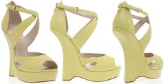 Yellow Calfskin and Python Sandals by Elie Saab