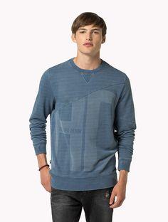 468a34499 Cotton Printed Sweatshirt Hilfiger Denim, Tommy Hilfiger, Printed  Sweatshirts, Crew Neck Sweatshirt,