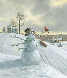 Old-Fashioned Christmas Scenes | snowman & cardinal | Inspirations | Pinterest