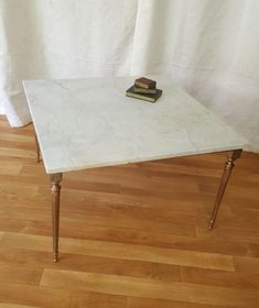 Large-Square-Vintage-Marble-topped-Coffee-Table-Brass-Legs-French-Apartment