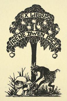 Elizabeth Voges EX LIBRIS: Antique Book Plates : Satyr Under Pomegranate Tree. Ex Libris for Irene Dwen Pace at Davidson Galleries