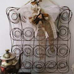Salvaged rusty cushion springs message board or card holder shabby farmhouse garden seed or jewelry organizer anita spero design