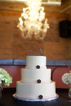 Simple smooth cake with added road and button details Photo by EG O'Connell Photography Smooth Cake, Sweets Cake, Occasion Cakes, Custom Cakes, Cake Pops, Heavenly, Wedding Cakes, Button, Simple