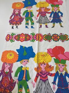 Vintage 70s Novelty Fabric Flower Children by thisgirlsjunk on Etsy https://www.etsy.com/listing/549230370/vintage-70s-novelty-fabric-flower