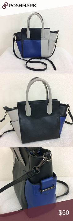 """🔸REED Black/Blue/Gray Colorblock Satchel Handbag Reed Black/Blue/Gray Colorblock Satchel Handbag  • Size: 14""""x10""""  • 100% Manmade Material • Like New Condition • 🚫🐶🐱🚬 REED Bags Satchels"""