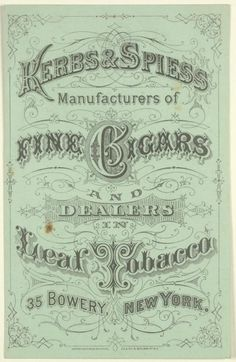 Advertising card with Kerbs & Spiess name and address - NYPL Digital Collections Vintage Fonts, Vintage Type, Vintage Typography, Vintage Stamps, Vintage Labels, Looks Vintage, Vintage Ephemera, Vintage Ads, Vintage Images