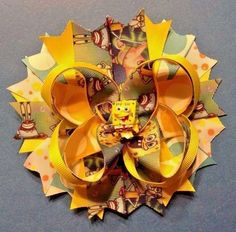 "6"" Handmade SpongeBob SquarePants Boutique Stacked Hair Bow - Infant / Kids #Handmade"