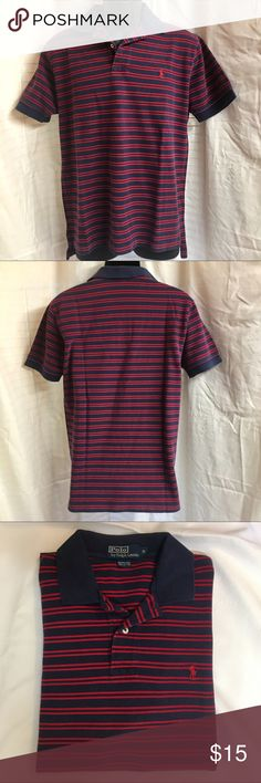 Men's Classic Polo by Ralph Lauren Men's Polo in classic navy blue and red striped size M. 100% cotton. Very good condition. Polo by Ralph Lauren Shirts Polos