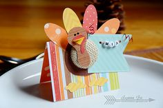 Thanksgiving turkey place cards created using Imaginisce Bushel O Fall collection by Suzanna Lee Thanksgiving Name Cards, Thanksgiving Traditions, Thanksgiving Turkey, Holiday Crafts, Holiday Fun, Fall Cards, Craft Fairs, Fall Halloween, Crafts For Kids