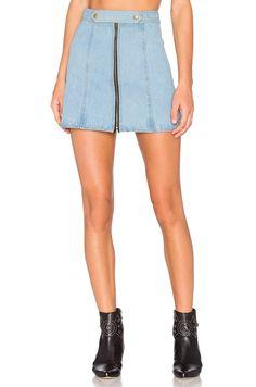Understated Leather x REVOLVE High Waist Zip Skirt in Sky Blue & Acid Wash