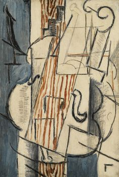 Georges Braque Violon, Oil and charcoal on canvas, 35 x 24 cm Pablo Picasso, Picasso And Braque, Cubist Drawing, Painting & Drawing, Georges Braque, Synthetic Cubism, Work Images, Art Music, Art History