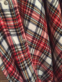 Large Vintage Christmas Red Plaid Wool Woolen Winter Blanket Cozy Free Ship Christmas Sale