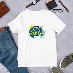 Let's Party Short-Sleeve Unisex T-Shirt | Party On | Summer Times | New Season #NewSeason #Party #PartyOn #Season #Summer #SummerTimes Prism Color, Ash Color, Summer Time, Seasons, Let It Be, Times, Unisex, Trending Outfits, Sleeve