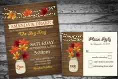 22 Gorgeous Fall Wedding Invitations Ideas...this is what I've been looking for!