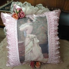 Throw pillow with image of a Victorian lady at by cindysvictorian