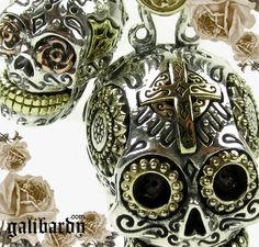 Silver Sugar Skull biker jewellery. Small and large charms for men and women. www.galibardy.com
