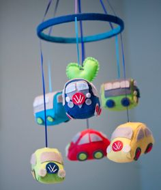 Baby VW Volkswagen Bus and Beetle Nursery Mobile by FeltBaby- wish I would've seen this when Dillon was a baby.