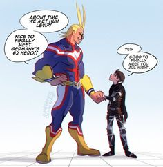 Could you imagine if All Might and Levi met? The height difference would be amazing 🤣 And Midoriya gets to meet my nonbinary… Boku No Hero Academia, My Hero Academia Memes, Hero Academia Characters, My Hero Academia Manga, Best Crossover, Fandom Crossover, Anime Crossover, Levi Ackerman, Levi X Eren