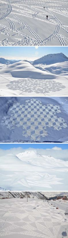 Artist Simon Beck making large scale patterns in the snow from his footprints, so cool!