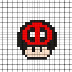 Deadpool Mushroom Perler Bead Pattern