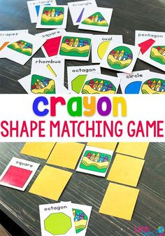 This crayon shape matching game is a great shape activity for preschool and kindergarten children! Perfect for anytime of the week! Kids can learn about shapes while playing fun partner games during math centers! 2d Shapes Activities, Fun Math Activities, Learning Shapes, Educational Activities For Kids, Educational Crafts, Educational Websites, Alphabet Activities, Learning Spanish, Family Activities