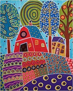 Pattern in Art - folk art landscapes Karla Gerard