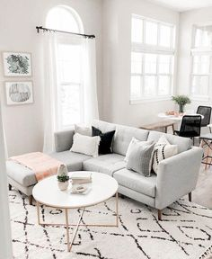 room decor The Ultimate Sectional Sofa Buying Guide Light gray sectional sofa with chaise – This pretty scandi style sofa works great in a large, open living room! I love the white round coffee table and black and white rug nearby too! Living Room Carpet, Living Room Grey, Living Room Sofa, Open Living Rooms, Living Room Ideas Grey And White, Sofa In Bedroom, Apartment Living Rooms, Charcoal Sofa Living Room, Living Room Decor Grey Couch