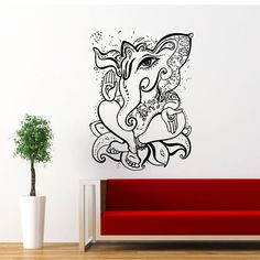 Ganesha Wall Decal Ganesh Wall Decals Elephant Lord of Success Buddha Yoga Vinyl Sticker Interior Home Decor Art Wall Decor Bedroom SV5833 by supervinyldecal. Explore more products on http://supervinyldecal.etsy.com
