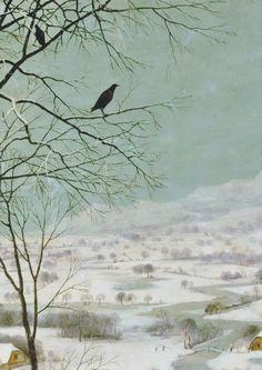 """Pieter Bruegel de Oude """"Hunters in de Snow"""" 1565, detail"""