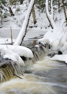 Mosquito river winter waterfall Pictured Rocks National Lakeshore