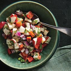 Fresh Apple Salsa goes great with pork or roast chicken. Sub 10-15 drops of stevia for the honey.