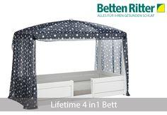 4in1 Bett von Lifetime Das Konzept - Sie kaufen ein Bett und in Abhängigkeit zum Alter als auch den individuellen Wünschen Ihres Kinder, können vier verschiedene Bettkonzepte aus den vorhandenen Teilen konstruiert werden. https://www.bettenritter.com/Lifetime-4in1-Bett