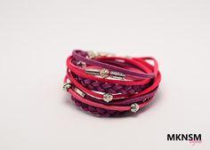 Bratara din piele intoarsa roz cu accesorii metalice   Online Gallery - Galerie…
