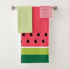 Shop Pink Lime Green Watermelon Summer Fruit Pattern Bath Towel Set created by ChefsAndFoodies. Watermelon Towel, Watermelon Patch, Watermelon Decor, Green Watermelon, Painted Jars, Fruit Pattern, Kitchen Themes, Bath Towel Sets