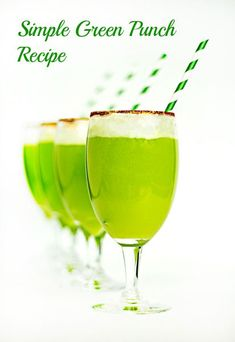 Green Punch Recipe    Ingredients  2 liters of ginger ale  1 can (46 oz) of pineapplejJuice  2 quarts of lime sherbet  2 drops of green food coloring (optional)    Directions  Pour the pineapple juice in a punch bowl.  Then, add the lime sherbet.  Pour the ginger ale on top of the sherbet.  If you want your punch a little greener, add a few drops of food coloring.