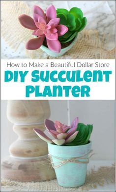 Make a beautiful DIY succulent planter the easy way. This Dollar Store craft will show you how to make DIY succulent planters with faux succulents. Succulent Planter Diy, Faux Succulents, Diy Planters, Garden Planters, Succulents Garden, Wood Mulch, Cactus, Landscape Fabric, How To Make Diy