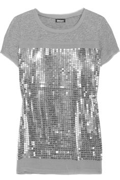 DKNY  Sequined cotton T-shirt. make a shirt similar to this for B to wear for her music video.