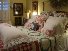 """Christmas bed (from Cherry Hill Cottage) oh so cozy and warm and nurturing. This bed just calls out to me... """"Fresh crisp linens (like the ones Grandma used to have on her beds, Sweet dreams of candy canes and fudge, and Christmas songs lulling me to sleep, because Santa's on his way!"""""""