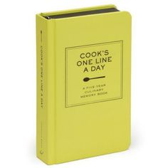 COOK'S ONE LINE A DAY MEMORY BOOK - This  memory-keeper lets food lovers track their kitchen movements every day for five years. Cooks can log favorite meals, desserts, guests hosted, big successes, new experiments, and even mishaps day by day. Durable and elegantly designed, this diary is the go-to record of cooking life.