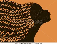 silhouette of woman.Beautiful black woman.African with pigtails - stock vector