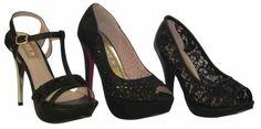 Zapatos con varias medidas de tacón y plataforma  ¿Cuál te epetece llevar?  ¿La sandalia con pedrería, el calado con cristales negros o el que tiene un efecto bordado?  ¡No importa! con cualquiera de ellos estarías  ¡FANTÁSTICA!