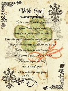 Wish Spell (Printable Spell Page) – Witches Of The Craft® Halloween Spell Book, Halloween Spells, Witch Spell Book, Witchcraft Spell Books, Magick Spells, Halloween Forum, Decoupage Vintage, Wish Spell, Spells For Beginners