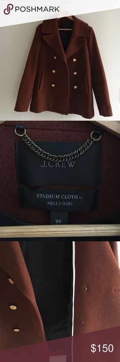 J.Crew Stadium Wool Peacoat (Auburn Color) The signature majesty peacoat, with side pockets and a back-belt detail. Plus, it's crafted in stadium-cloth wool made especially for us by Italy's Nello Gori mill, which adds warmth without the bulk.  Measurements: 36.5 Bust 33.25 inches Arm Length (medium)  Wool/nylon.Button closure.Authentic brass buttons.Pockets.Lined.Dry clean. Open to offers! J. Crew Jackets & Coats Pea Coats