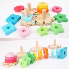 Деревянные укладка кольцо блоки цвета и формы обучения Обучающие Мягкие Монтессори деревянные игрушки для детей 12 шт. кольцо купить на AliExpress
