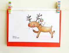 Unique and Cute Christmas Greeting Card With Whimsical And Beautiful Illustration - Set Of Personalized Greeting Card - Reindeer