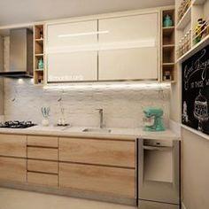Cozinha | A leveza foi premissa para o projeto desta cozinha. Na parte superior, armários de porta de vidro Branco, na parte inferior a madeira clarinha e o revestimento 3d com aparência de mármore completa o decor.♥️
