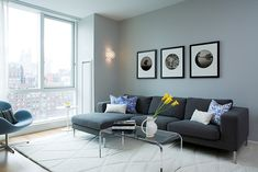 Love the soft, comfy gray couch