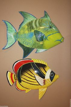 "(2)pcs, 12"" TROPICAL FISH WALL ART, REALISTIC, COLORFUL, WALL HANGING, F-79,74 #TROPICALFISHDECOR"