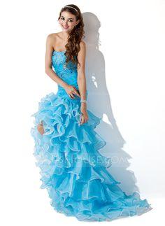 Trumpet/Mermaid Sweetheart Asymmetrical Organza Satin Prom Dress With Beading Split Front Cascading Ruffles (018005086)